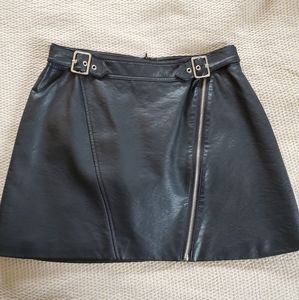 Sexy Black Faux Leather Skirt